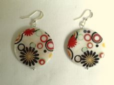 Printed natural shell earrings